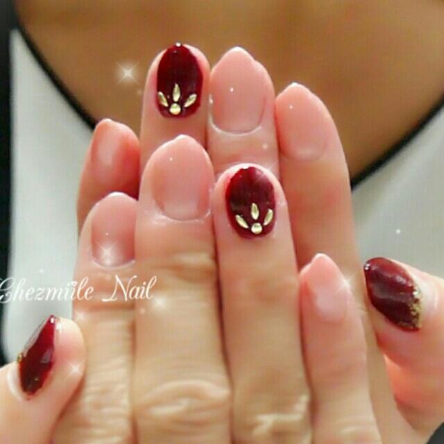 9月のmy nail♡ シンプルにピンクベージュとボルドーですっかり
