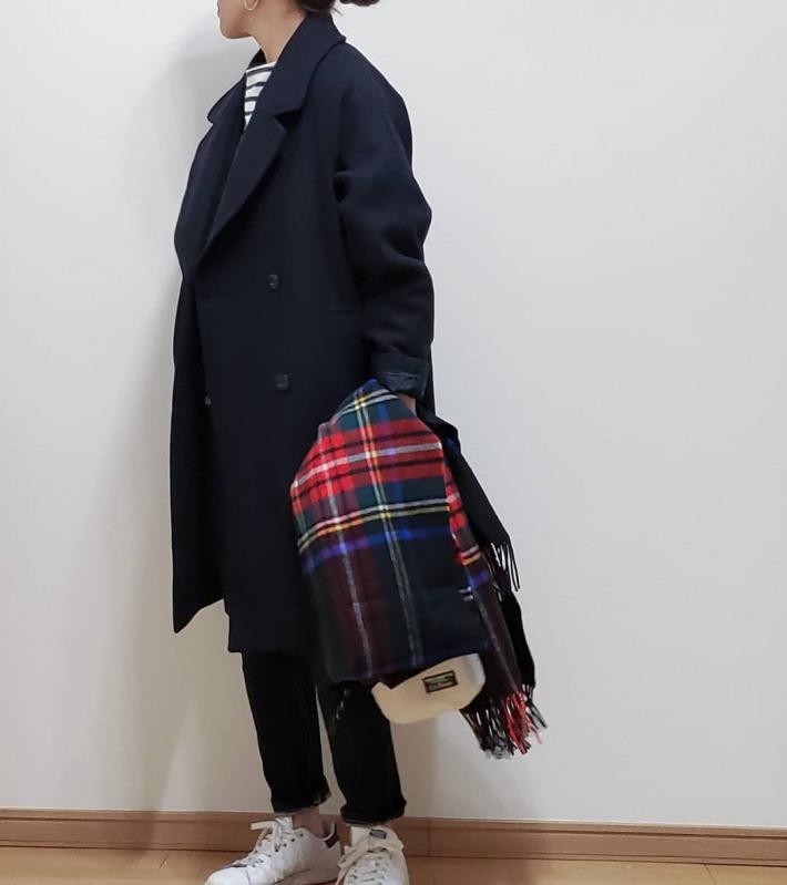 ウール ブレンド コクーン コート